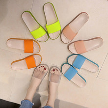 Women Slipper High Heels Summer Wild womens Shoes Word Buckle Simple  Sandals Jelly