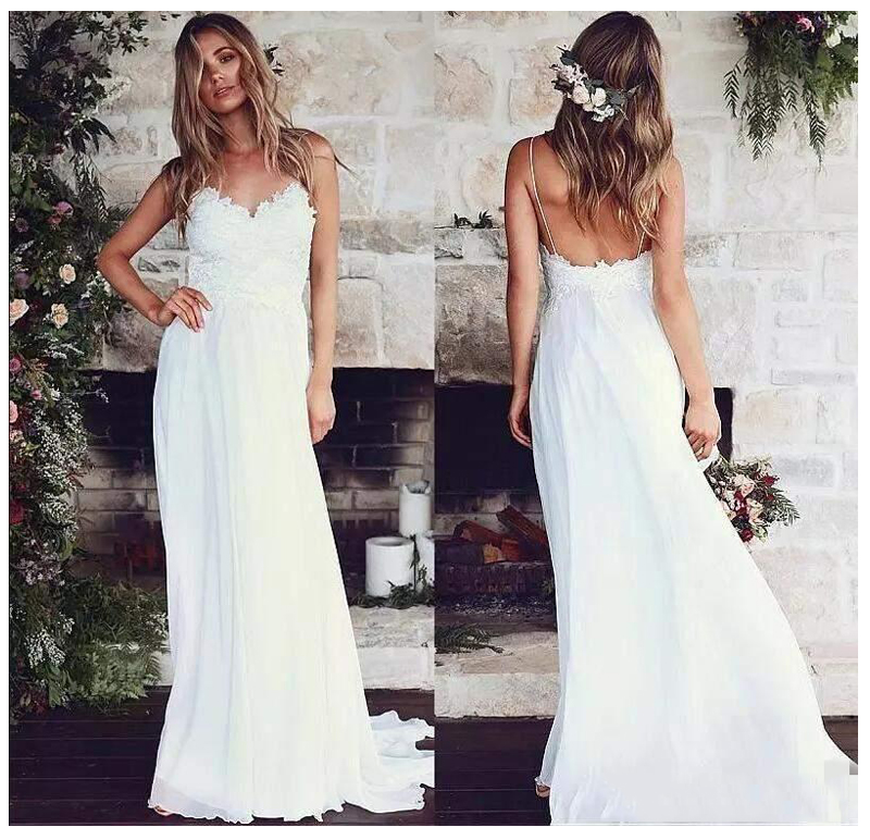LORIE Boho Wedding Dress Boho Long Backless White Beach Wedding Dress Appliques Lace Sexy Princess Bride Dress Free Shipping