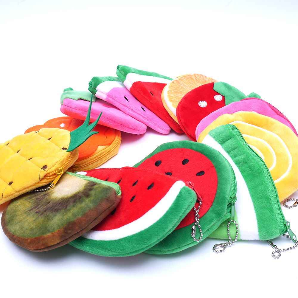 3D Frutas Frescas Moeda de Pelúcia Bolsa Crianças Zip Pequena Mudança Bolsa Carteira Mulheres Bolsa Saco de Dinheiro Menina Mini Curto Moeda titular Carteira