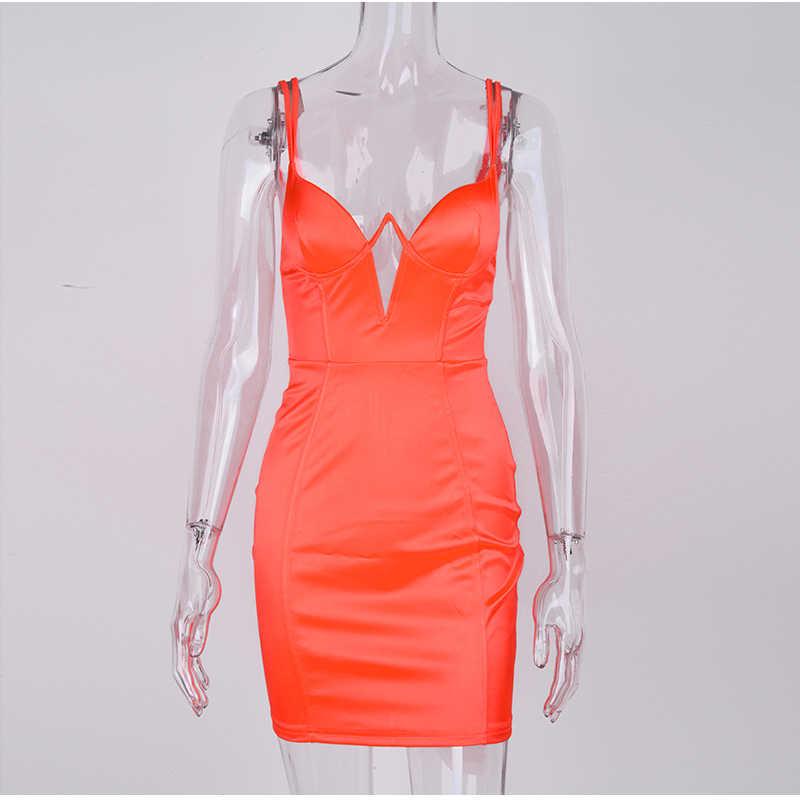 Женское коктейльное платье NewAsia Garden, летнее оранжевое платье с двойными бретельками, облегающее эластичное платье, привлекательное узкое клубное платье с вырезом на груди, 2019