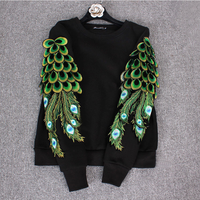 Fashion Hoodies Women 2018 Spring Winter Heavy Embroidery Peacock Wing Sleeve Round Collar Loose Pullover Coat for Men and Women