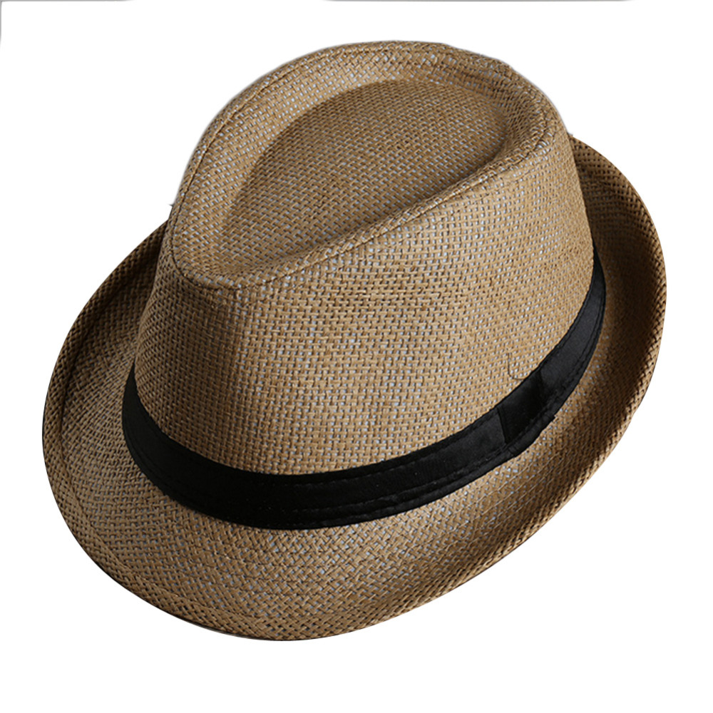 77e1ce72007 Men Women Fedora Wide Brim Black ribbon patchwork Straw hat Trilby Cap  Panama Unisex Summer Beach