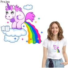 Prajna Hippie Unicorn Patches Magic Rainbow Iron On Transfers Thermal Stickers Kids T-shirt Heat Transfer Patch Sticker DIY