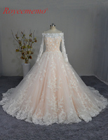 Real Picture High Quality Lace Boat Neck Long Sleeve Wedding Dress 2017 Vestido De Noiva Bridal