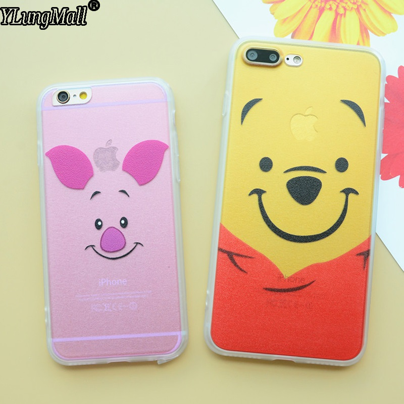 Fundas Coque Case For iphone 8 7 Plus 6 6S PLus 5 5S SE X Case Rubber Cute Pink Color Piglet Winnie Pooh Bear Phone Cases Cover