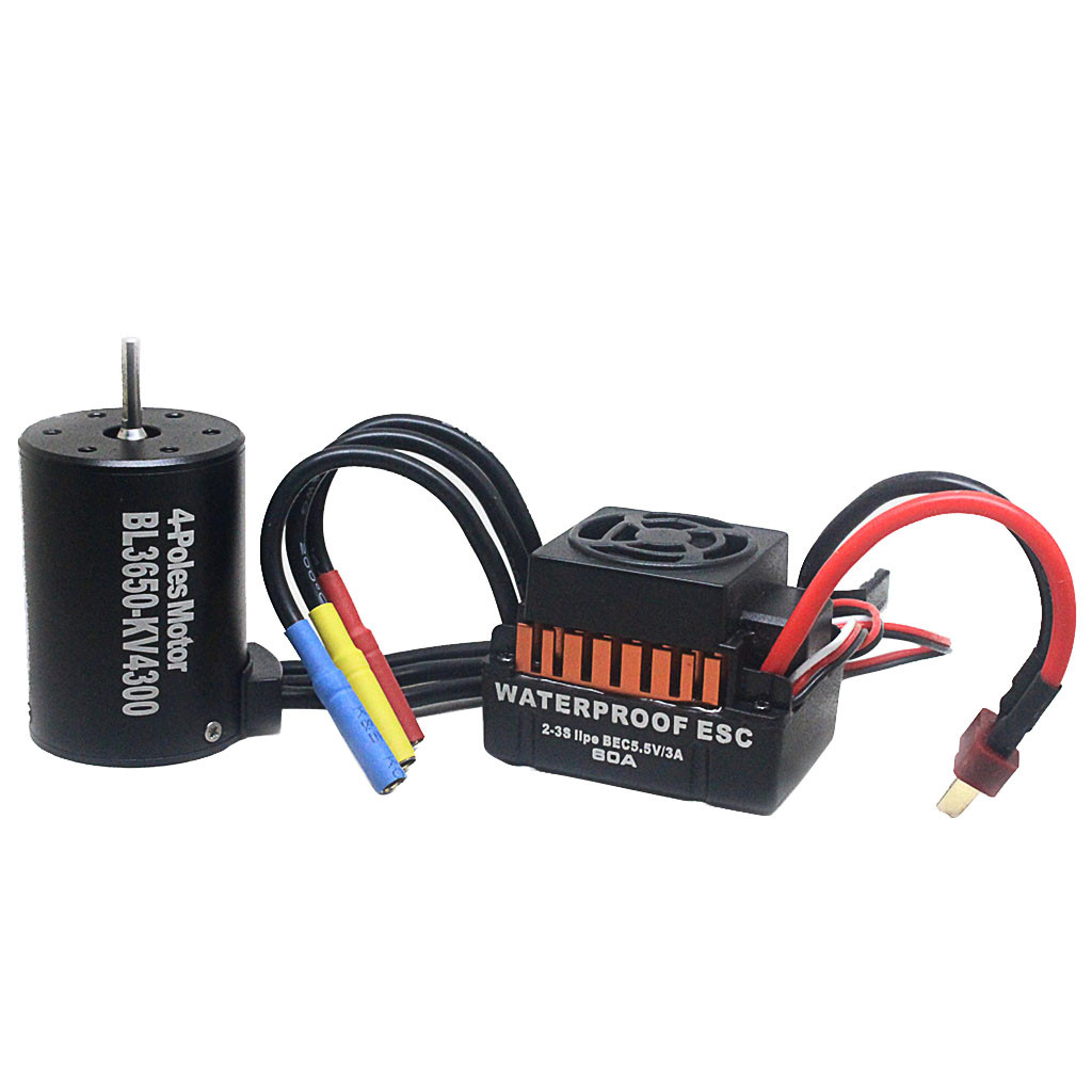 High Quality RC Car Parts toys for children Waterproof B3650 4300KV Brushless Motor w/ 60A ESC Combo Set for 1/10 RC Car A514