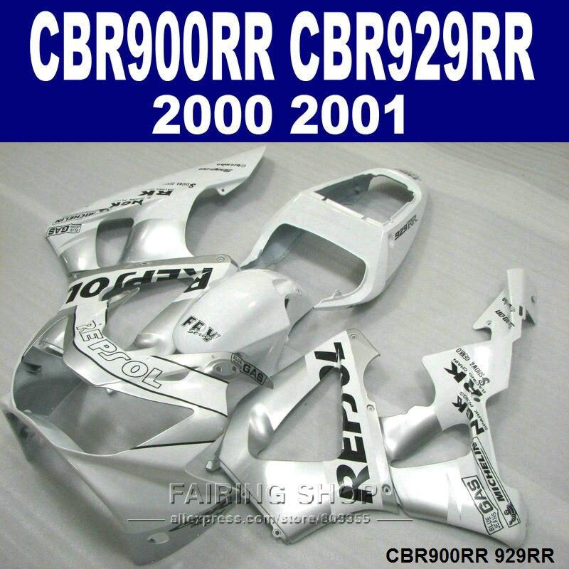 Stampaggio ad iniezione kit carenatura del motociclo per honda cbr900rr cbr929rr 2000 2001 cbr929 00 01 argento repsol carenature set zx2