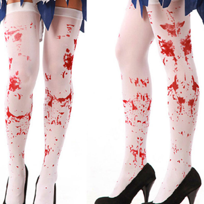Women Fancy Dress Blood Bloody Stockings Halloween Gothic Scary Nurse Costume