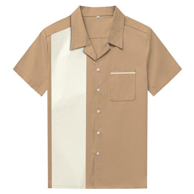 d8c22cd98 American Retro Mens Summer Shirt Panel Hit Color Stitching Cowboy Street  Punk Rockabilly Clothes Blusa Camisas Male Shirts