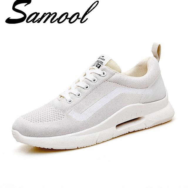 Модные кроссовки Женские повседневные ботинки на шнурках белые женские  сетки воздуха прогулочная обувь Легкие дышащие женские 752aab00032