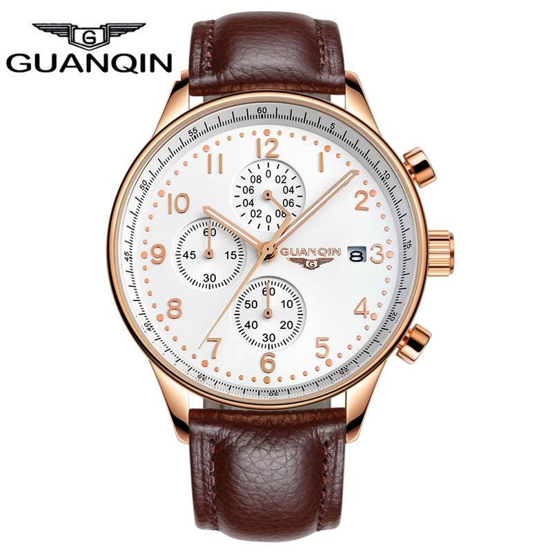 2016 Top Brand Luxury GUANQIN Quartz Watch Men Wrist Watches Men Clock Men s Wristwatch Male