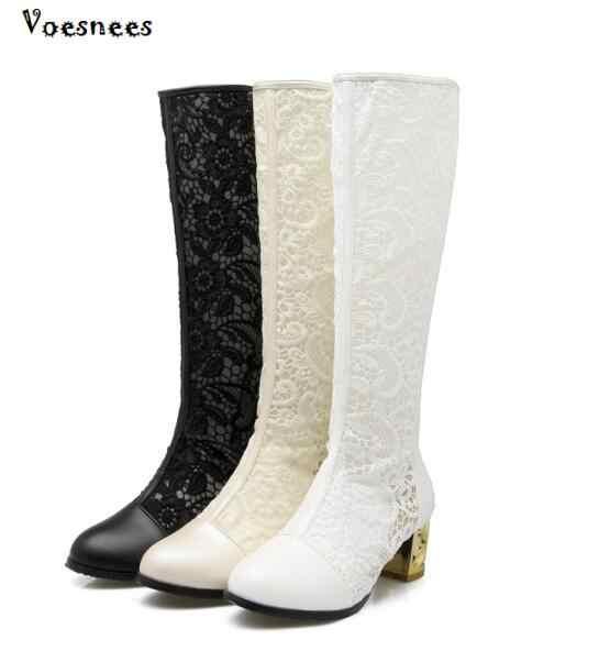 2018 แฟชั่นผู้หญิงรองเท้างานแต่งงานรองเท้ารองเท้าหญิงยืด PU หนังรองเท้าผู้หญิงสีดำสีขาวเข่า - ความยาวรองเท้า