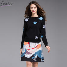 New Arrival Fashion Women 2 Piece Set Long Sleeve Star Embroidery Sweater + Cranes Print Skirt Autumn Winter Suit