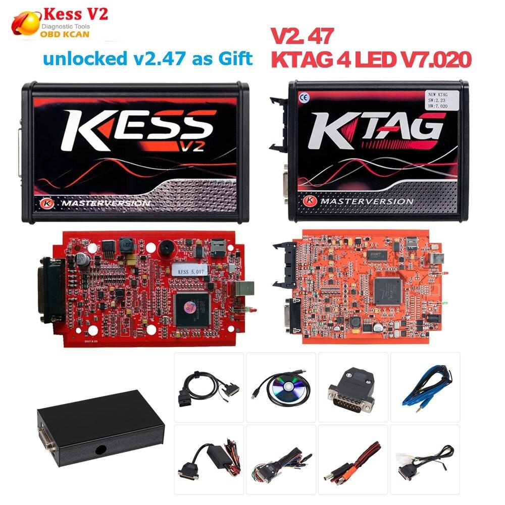 En ligne L'UE Rouge 4 LED Kess V2 5.017 OBD2 Gestionnaire Tuning Kit Rouge KTAG V7.020 Aucun Jeton K-TAG 7.020 Maître v2.47 ECU Programmeur