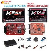 Online EU Red 4 LED Kess V2 5.017 OBD2 Manager Tuning Kit Red KTAG V7.020 No Token K TAG 7.020 Master V2.47 ECU Programmer