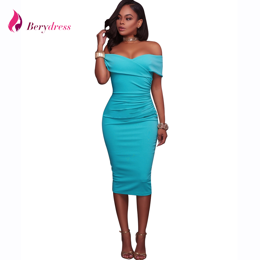 Berydress Womens <font><b>Sexy</b></font> <font><b>Off</b></font> <font><b>Shoulder</b></font> Strapless Midi Dress Ruched <font><b>Elegant</b></font> <font><b>Bodycon</b></font> Dress <font><b>Party</b></font> Clubwear Sheath Pencil Dresses <font><b>2018</b></font> image