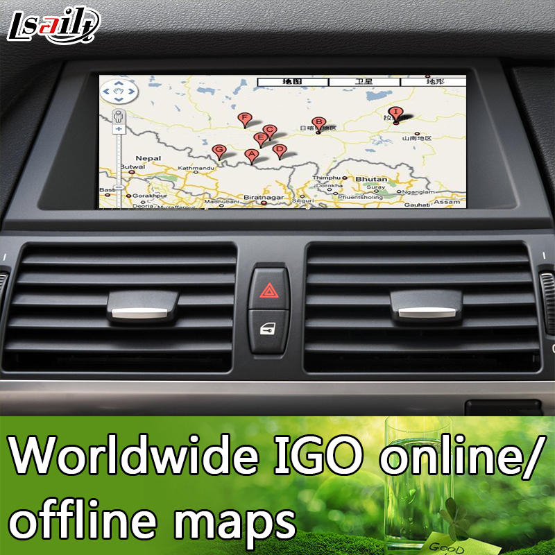 Backup Camera Android Navigation Interface for BMW X5 CIC with Mobilephone  Miracast ,APPs Download , Real Time Navigation-in Vehicle GPS from