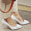 Brand Pointed Toe Loving Heart High Heel Shoes Women Leather Elegant Office Ladies Shoes Pump 9cm White Thin Heel