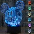 Creativo Anime de la historieta 3D Minnie Mickey Mouse lámpara de Noche LED Luz de La Noche de Acrílico Gradiente de Colores Iluminación de la Atmósfera de nave de la gota