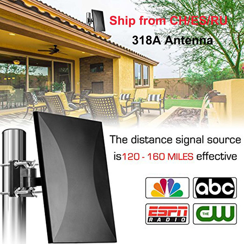 318A 160 Miles Outdoor and Indoor 360 Degree Reception Amplified TV Antenna Upgrade Omni Directional HDTV Antenna For FM/VHF/UHF