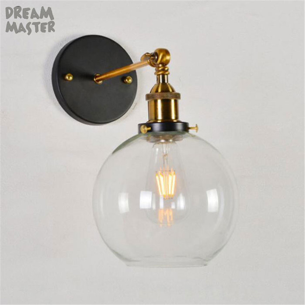 Loft Vintage Industrial Edison Wall Lamps Clear Glass Lampshade Antique Copper Wall Lights 110V 220V For Bedroom wall sconces wholesale price loft vintage industrial edison wall lamps clear glass lampshade antique copper wall lights 110v 220v for bedroom href