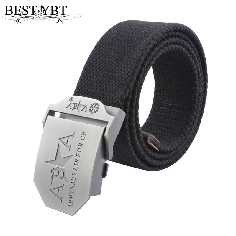 Best YBT Hot Men   Belt   automatic buckle Outdoor thickening   Belt   Men casual Weave double A High quality Canvas cowboy   belts
