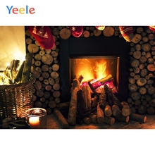Yeele Merry Christmas Photography Backgrounds Fire Fireplace Wood Indoor Custom Vinyl Photographic Backdrop For Photo Studio