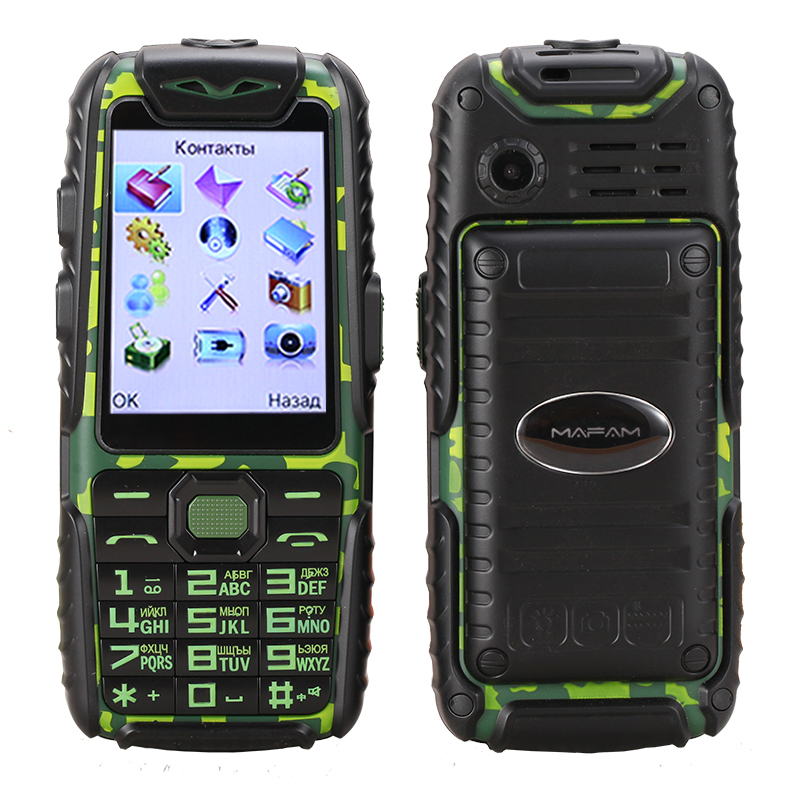 Anti slip rubber Shockproof Dustproof dual sim flashlight big key power bank long standby army outdoor