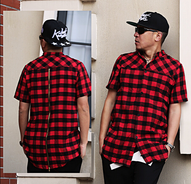 new cool exclusive flannel zip shirt men hip hop plaid designer ...