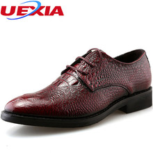 Crocodile Pattern Pointed toe Pace-up Patent Leather  Wedding Mens Shoes Derby Style Dress Shoes For Men Business Brogues Casual
