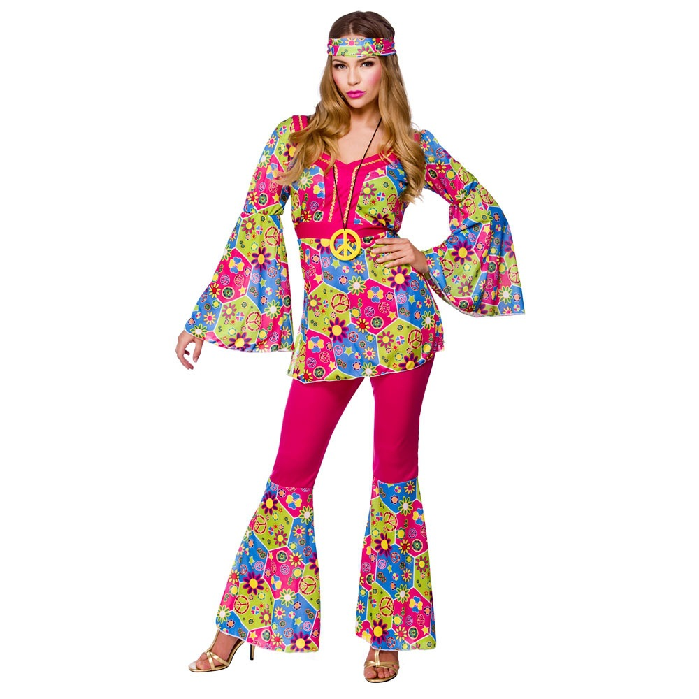 Free Shipping Mens Womens Groovy Hippy Flares Top Outfit 60s 70s Fancy Dress Hippie Adult Halloween Costume In Holidays Costumes From Novelty Special