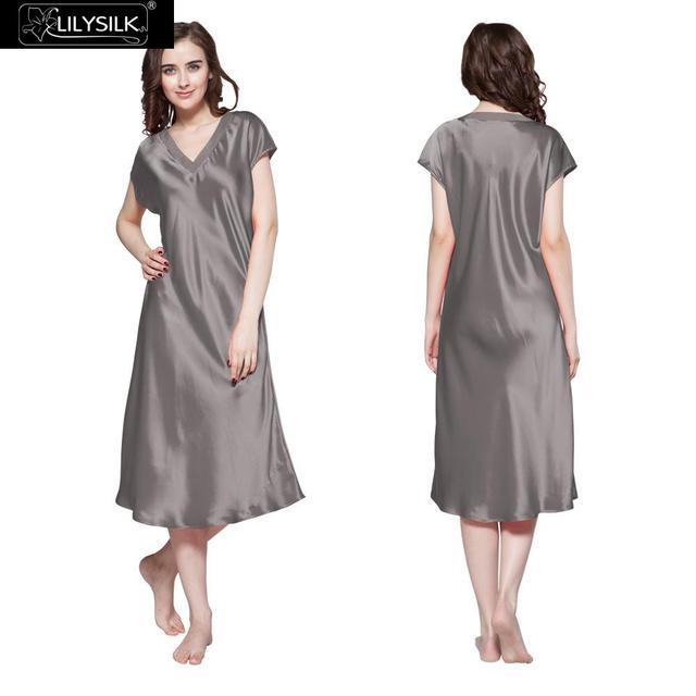 Lilysilk 100% Silk Long Nightgowns Pure Women Nightwear Dark Grey 22 Momme Sleepwear Nightie Sexy Lingerie Lounge Night Dress