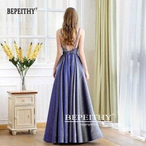 Image 2 - גלימת דה Soiree רעיוני שמלת V צוואר ארוך שמלת ערב המפלגה אלגנטי 2020 קו Shinny שמלות נשף עם חגורה