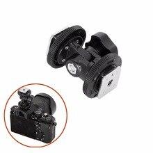 Dual Hot Shoe Verstelbare Mount Adapter Bracket Houder voor Video camera Fotografie Licht Verlichting voor Canon Nikon Sony