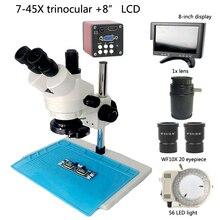 Тринокулярный стереомикроскоп 7X 45X коэффициент увеличения + 720 P 14MP промышленный цифровой фотоаппарат VGA HDMI + 56 Светодиодный лампа + 8 «ЖК-дисплей монитор