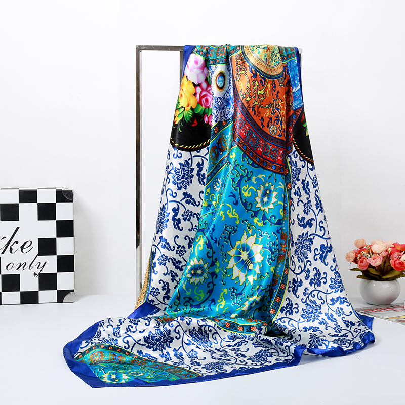 Bandanas Scarf Headband Muslim Hijab Luxury Blue Flower Print Silk Square Scarf Women Brand Quality Imitated Silk Satin Shawl