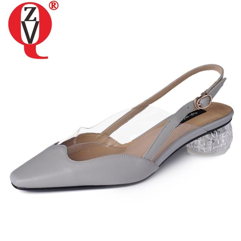 ZVQ 靴女性 2019 春の最新ファッションスクエアトゥハイヒールの品質本革の女性 med 奇妙なスタイルバックル靴  グループ上の 靴 からの レディースパンプス の中 1