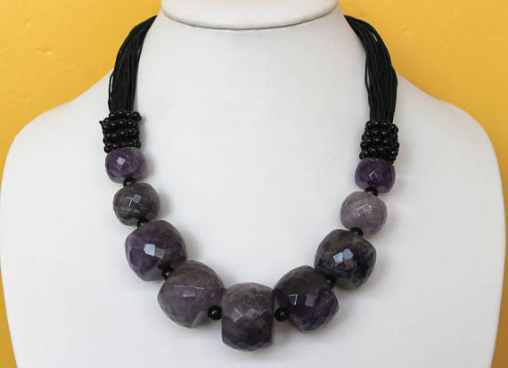 Newest Chunky Bold Necklace,Faceted Amethysts Wheels ,Black Agates JewelleryNewest Chunky Bold Necklace,Faceted Amethysts Wheels ,Black Agates Jewellery