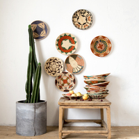 34 cm Round Rustic Hand woven Straw Designer Model Room Background Wall Hanging Decoration Fruit Plate Bowls