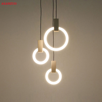 Modern Round Ring Pendant Lights Simple Dining Room Bedroom Staircase Bar Metal Glass Lamps Fixtures T9