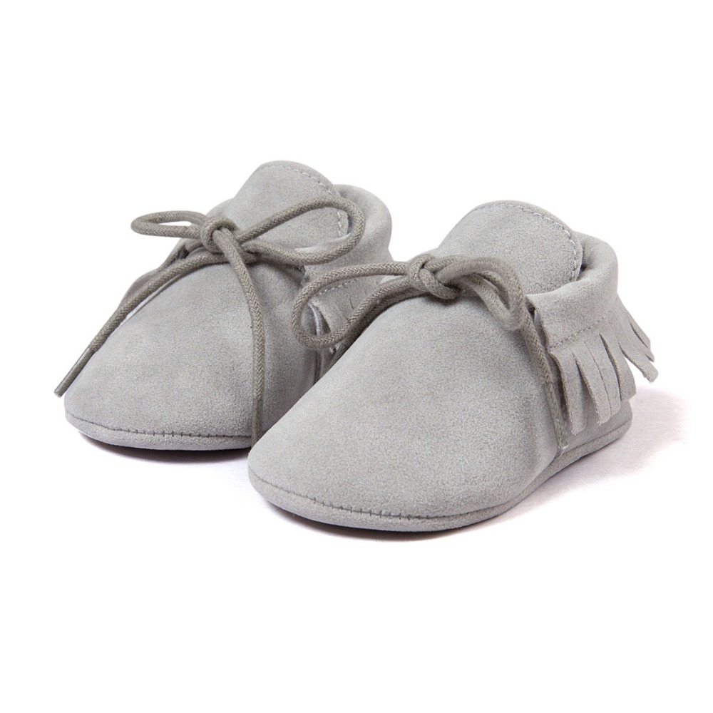 Graue Nubukbaby-Turnschuhe beschuht Babymokassins heißen moccs Superstarschuhe neugeborenes infantil bebe Schuhe 0 ~ 18month CX51C