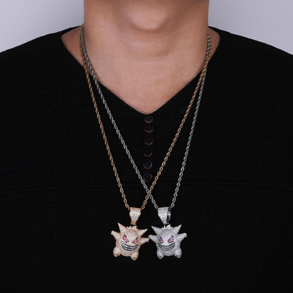 Maska Gengar naszyjnik Pokemon naszyjnik pełny kryształowy świecący naszyjnik łańcuch dla kobiet mężczyzn Hip Hop biżuteria Drop Shipping