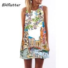 Bhflutter короткие пляжное платье Для женщин 2018 Новый стиль цифровой печати Повседневное bohomian платье без рукавов с круглым вырезом летнее шифоновое платье