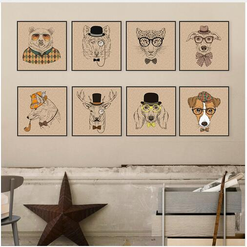 vintage retro fashion animals head deer dog giraffe bear painting prints cheap cartoon painting poster wall pictures home decor - Cheap Decor