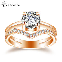 Tocean Rose Gold Color Wedding Rings for Women Round Cute Round Cubic AAA Zircon Engagement Femme Bijoux Bague Size 5-12 W007 luxury cubic flower novel star cute rose gold color wedding rings for women green aaa zircon engagement bijoux bague size 6 10