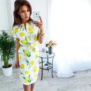 Ahagaga 2018 Summer Dress Women Fashion Print Elegant Cute Sashes O-neck Sexy Slim Sheath Dress Women Dresses Vestidos Robes 3