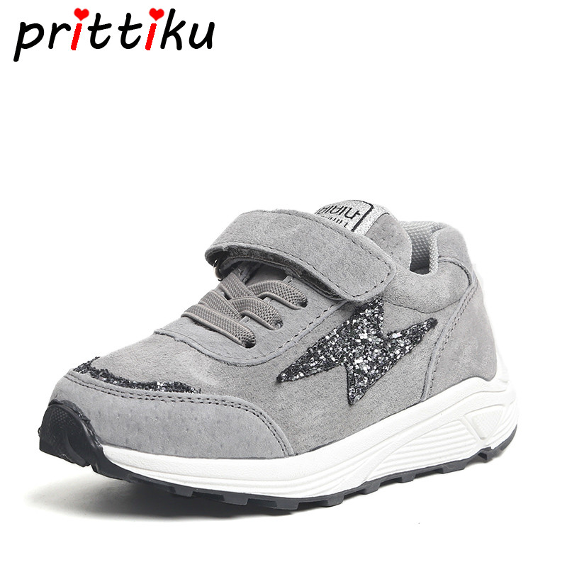 Spring 2018 Baby Toddler Boy Girl Real Leather Sneaker Little Kid Sequin Glitter Trainers Big Children Casual School Sport Shoes