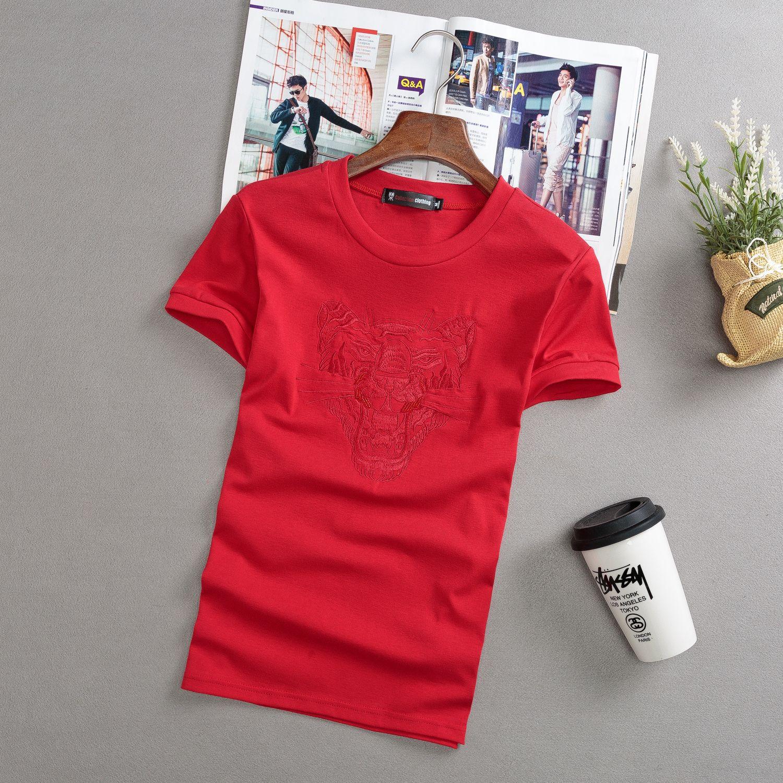 WW418 dei nuovi Uomini di Casual T-Shirt sociale spirito ragazzo piccolo manica corta del ricamo Testa di Tigre T-Shirt