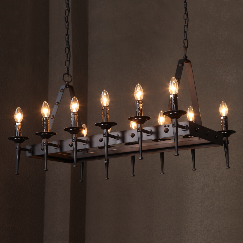 American designer candle chandelier chandelier rectangular table american designer candle chandelier chandelier rectangular table ikea retro nordic iron office chandelier in pendant lights from lights lighting on aloadofball Choice Image