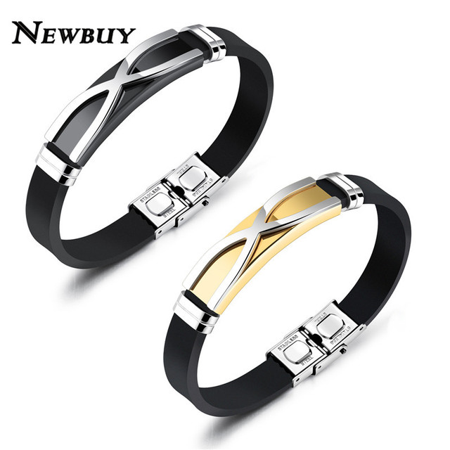 New Fashion Men Silicone Charm Bracelet High Quality Stainless Steel X Shape Bangle For